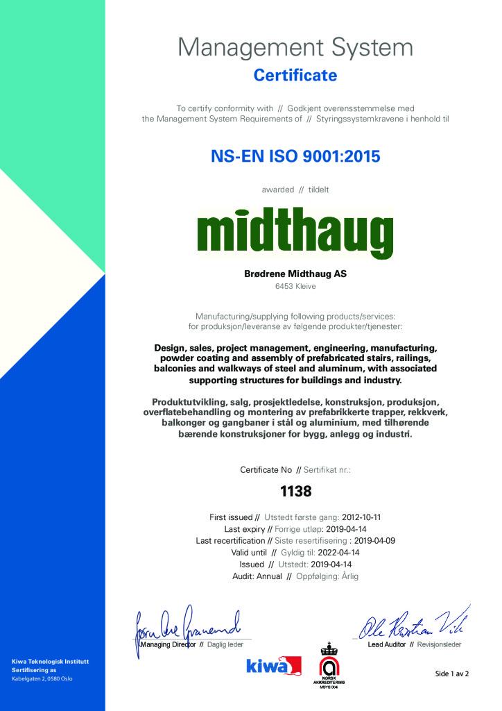 Re sertifisering ISO:9001