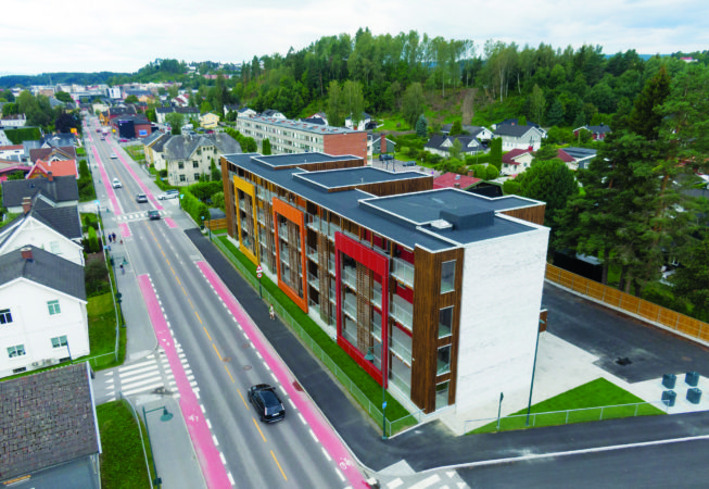 Hønen Terasse i Hønefoss 7.8. 2021. Foto: Trond Joelson, Byggeindustrien